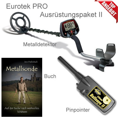 Teknetics Eurotek PRO (LTE) Metalldetektor Ausrüstungspaket mit Bullseye II Pinpointer
