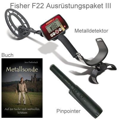 Metalldetektor Premium Ausrüstungspaket Fisher F22 mit Deteknix Xpointer Pinpointer