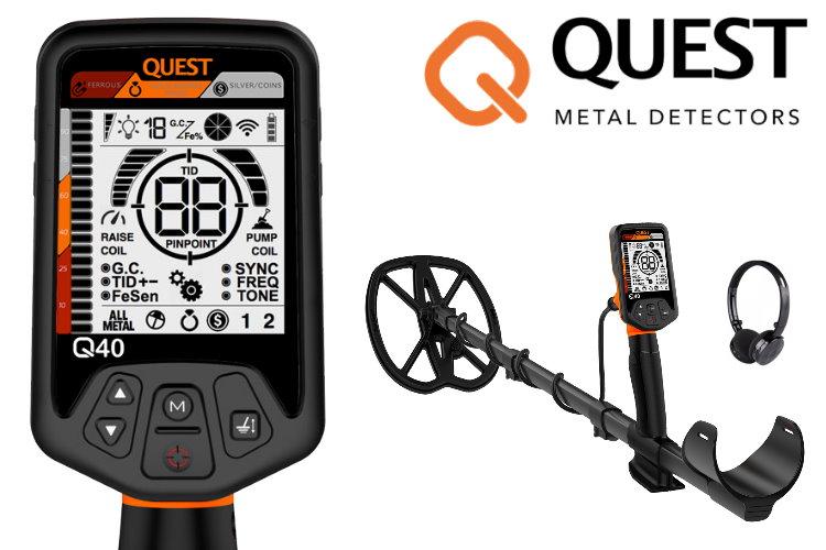 Quest Q40 Metalldetektor mit Raptor Spule & Xpointer Pinpointer & Schatzsucherhandbuch